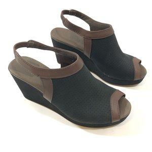 Tommy Bahama Black/Brown Wedge Sandals